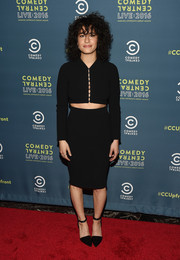 Ilana Glazer opted for a matchy-matchy look with this black pencil skirt and crop-top combo.