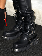 Slash attended the Comedy Central roast of Charlie Sheen wearing a really tough-looking pair of black lace-up boots.