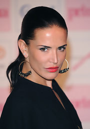 These beaded hoop earrings looked great with Sophie Anderton's slicked-back ponytail.