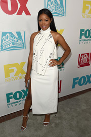 Keke Palmer was edgy-chic at the Comic-Con 20th Century Fox party in a Mugler LWD with a grommeted bodice overlay.