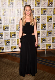 Jennifer Lawrence donned a boho-meets-trendy black cutout maxi dress by Louis Vuitton for for Comic-Con.
