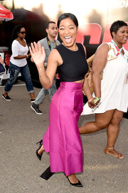 Keke Palmer's look totally popped, thanks to those magenta Solace London culottes.
