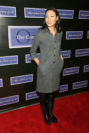 Ann Curry attended The Common Good's Tribute to Ruth Gruber in slouchy black leather knee high boots.