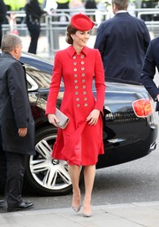 Kate Middleton attended Commonwealth Day service wearing taupe suede pumps by Emmy London.