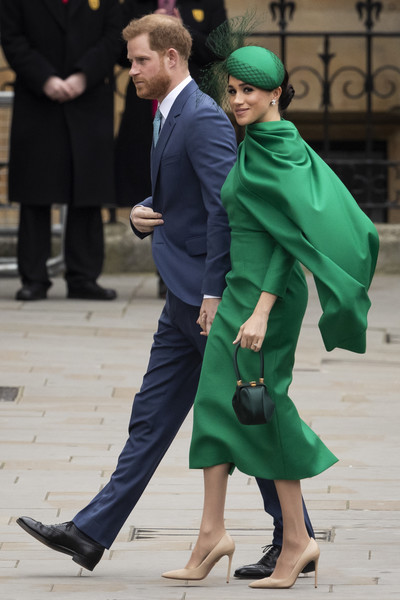 Meghan Markle looked stunning in a caped green midi dress by Emilia Wickstead at the 2020 Commonwealth Day Service.