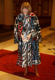 Anna Wintour attended the Commonwealth Fashion Exchange Reception rocking a graphic fur coat and dress combo.