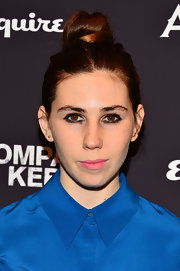 Zosia Mamet piled her chestnut locks into a top knot for a carefree evening look.