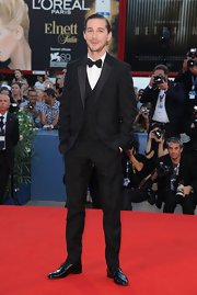 Shia LaBeouf made a dapper choice with this three-piece black tux at the premiere of 'The Company You Keep.'