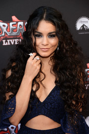 Vanessa Hudgens styled her ultra-long curls into a boho-chic half-up 'do for the 'Grease: Live' FYC event.