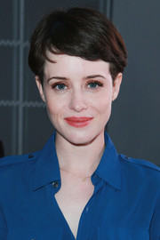 Claire Foy wore her hair in a simple boy cut at the FYC event for 'The Crown.'