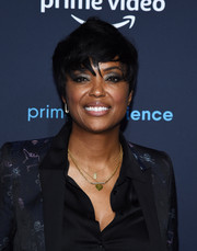 Aisha Tyler looked cool wearing this sculpted pixie at the FYC screening of 'Good Omens.'