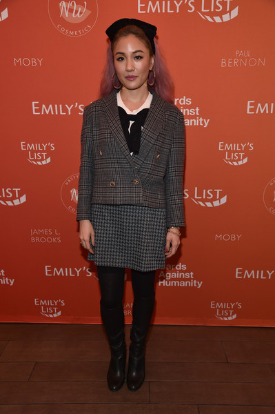Constance Wu Knee High Boots [emilys list pre-oscars brunch and panel,clothing,fashion,tights,footwear,outerwear,fashion design,carpet,dress,event,formal wear,constance wu,los angeles,california,emilys list pre-oscars brunch and panel]