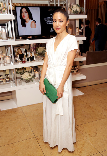 Constance Wu Leather Clutch [6th annual women in television dinner,constance wu,hearts on fire diamonds,white,clothing,beauty,skin,lady,fashion,shoulder,fashion design,dress,gown,sunset tower,west hollywood,california,elle,olay]