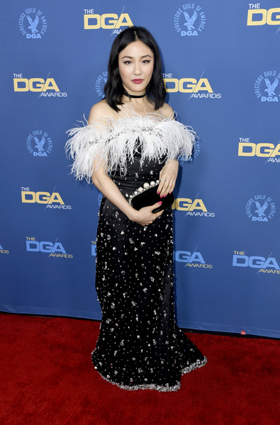 Constance Wu Velvet Clutch [red carpet,carpet,clothing,shoulder,dress,flooring,premiere,electric blue,event,black hair,arrivals,constance wu,directors guild of america awards,hollywood highland center,the ray dolby ballroom,california]