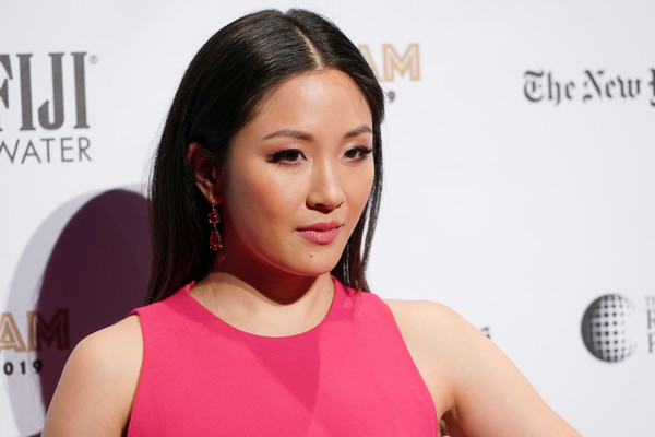 Constance Wu Dangling Gemstone Earrings [red carpet,hair,face,skin,hairstyle,shoulder,cheek,beauty,chin,pink,eyebrow,constance wu,new york city,cipriani wall street,ifp,29th annual gotham independent film awards]