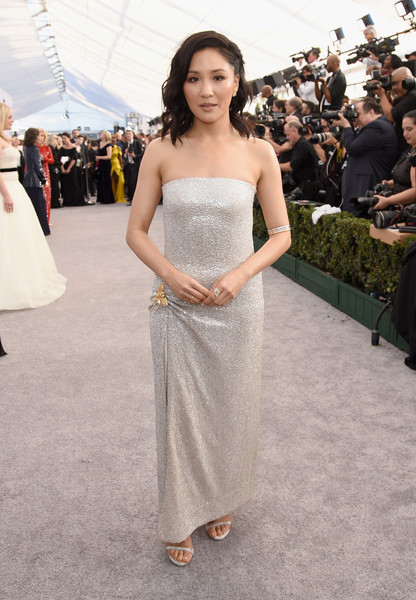 Constance Wu Strapless Dress [red carpet,dress,clothing,gown,strapless dress,shoulder,fashion,fashion model,lady,hairstyle,beauty,constance wu,screen actors guild awards,screen actors\u00e2 guild awards,california,los angeles,the shrine auditorium]