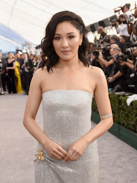Constance Wu Diamond Ring [red carpet,hair,dress,clothing,strapless dress,premiere,beauty,fashion,hairstyle,flooring,gown,constance wu,screen actors guild awards,screen actors\u00e2 guild awards,california,los angeles,the shrine auditorium]