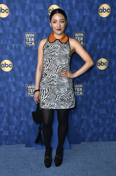 Constance Wu Platform Pumps [winter press tour 2020 - arrivals,clothing,dress,blue,fashion,cocktail dress,carpet,footwear,fashion model,electric blue,shoulder,constance wu,pasadena,california,the langham huntington,abc television,winter press tour 2020,constance wu,celebrity,television,television critics association,concert,american broadcasting company,in pasadena,actor,photograph]