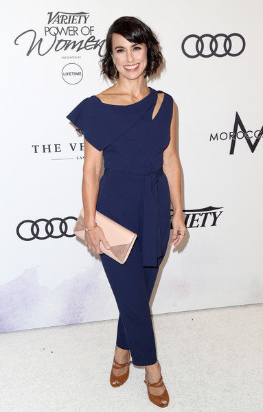 Constance Zimmer Envelope Clutch [clothing,shoulder,fashion model,dress,fashion,footwear,neck,cocktail dress,waist,electric blue,variety,power of women,los angeles,beverly hills,california,beverly wilshire four seasons hotel,constance zimmer,arrivals]