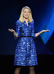 Marissa Mayer looked refreshingly chic in a blue A-line print dress during the International CES.
