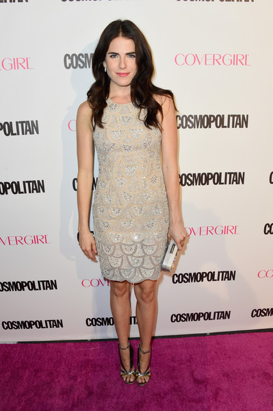 For her Cosmopolitan 50th birthday look, Karla Souza channeled the '20s in a sleeveless nude cocktail dress with scalloped beading.