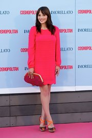 Andrea wore this bold and bright pink dress to the 'Cosmopolitan' Fragrance Awards in Madrid.
