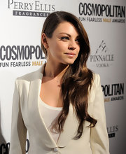 Mila Kunis attended the Cosmopolitan Fun Fearless Males of 2011 event wearing 18-karat rose gold pinch teardrop earrings with diamonds.