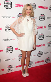 Fearne Cotton wore a white frock with a sheer lace overlay for the Cosmopolitan Women of the Year Awards.