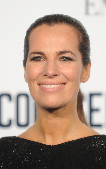 Roberta Armani pulled her hair back in a slick ponytail for the screening of 'The Counselor.'