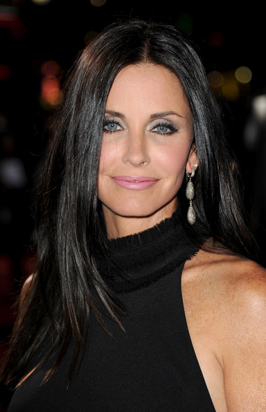 Courteney Cox Dangling Diamond Earrings