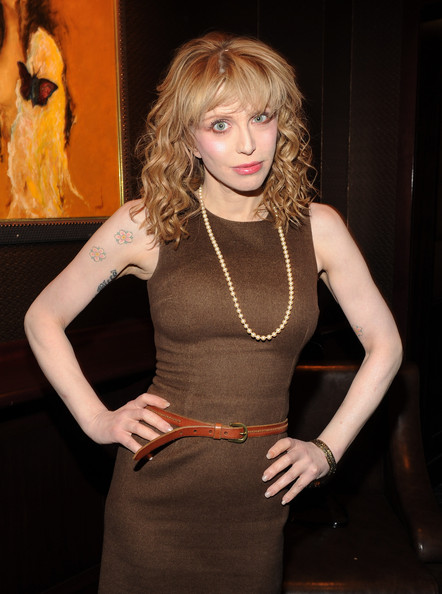 Courtney Love Flower Tattoo [due date,clothing,dress,blond,beauty,hairstyle,fashion,lip,cocktail dress,long hair,brown hair,courtney love,lavo,new york city,the cinema society dkny jeans,screening,party,cinema society dkny jeans host a screening of ``due date]