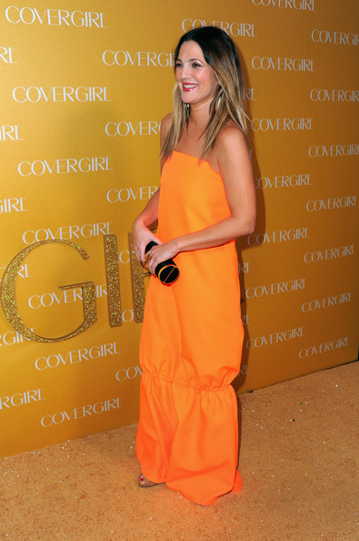 More Pics of Drew Barrymore Hard Case Clutch (1 of 15) - Clutches Lookbook - StyleBistro [orange,clothing,dress,yellow,shoulder,peach,fashion,long hair,cocktail dress,fashion model,arrivals,drew barrymore,covergirl cosmetics,covergirl cosmetic,west hollywood,california,party,50th anniversary party]