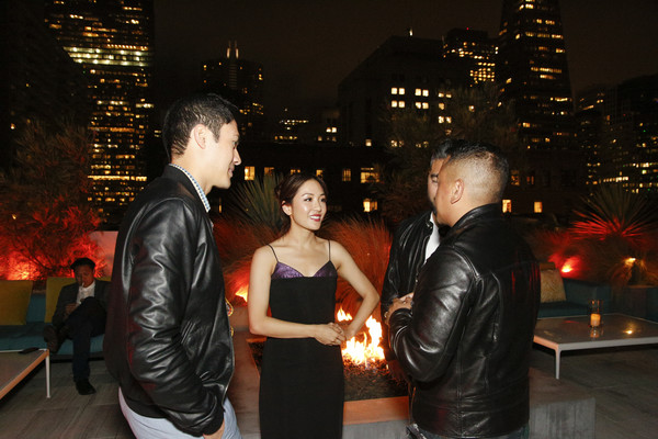 More Pics of Constance Wu Cocktail Dress (2 of 9) - Constance Wu Lookbook - StyleBistro [leather,fashion,event,night,textile,leather jacket,jacket,suit,city,ceremony,steve jang,friends,constance wu,rembrandt flores,henry golding,l-r,california,san francisco,crazy rich asians viewing party,warner bros. pictures]