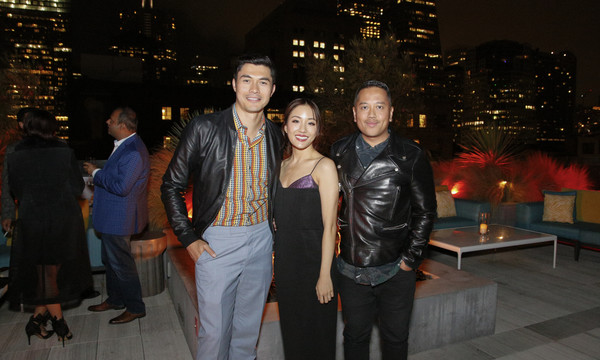 More Pics of Constance Wu Cocktail Dress (5 of 9) - Constance Wu Lookbook - StyleBistro [event,snapshot,night,leather jacket,textile,jeans,leather,fun,jacket,architecture,steve jang,friends,constance wu,rembrandt flores,henry golding,l-r,california,san francisco,crazy rich asians viewing party,warner bros. pictures]
