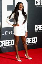 Aj Odudu looked foxy at the 'Creed' European premiere in a House of CB LWD with a lace-up front.