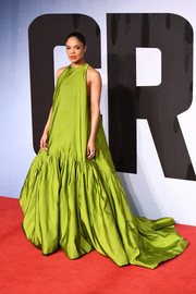 Tessa Thompson looked marvelous in a voluminous chartreuse gown by Valentino Couture at the European premiere of 'Creed II.'