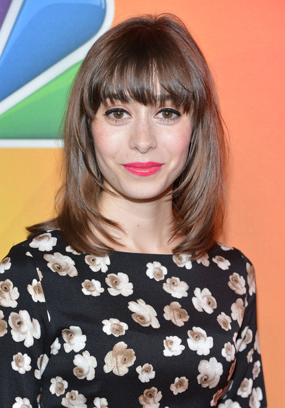 Cristin Milioti Medium Layered Cut [hair,hairstyle,face,bangs,eyebrow,shoulder,lip,brown hair,blond,beauty,cristin milioti,presentation,upfront presentation,the jacob k. javits convention center,new york city,nbc]