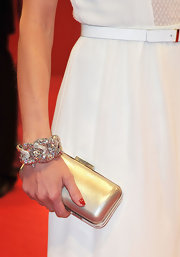 A super sparkly gold and diamond bracelet topped off Janine Reinhardt's red carpet look.