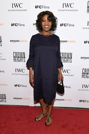 Alfre Woodard wore a midnight-blue midi dress with bell sleeves to the New York premiere of 'Crown Heights.'