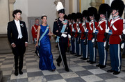 Princess Marie shimmered in a royal-blue sequined gown at the Crown Prince's 50th birthday celebration.