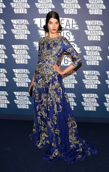 Crystal Renn Embroidered Dress [blue,flooring,electric blue,fashion,fashion model,dress,carpet,formal wear,gown,fashion design,crystal renn,cannes,france,loreal,paris blue obsession party,loreal party,cannes film festival]