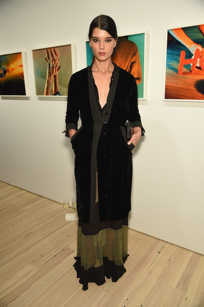 Crystal Renn Evening Coat [clothing,art exhibition,fashion,vernissage,exhibition,outerwear,art,event,tourist attraction,dress,crystal renn,partnership,audi celebrates partnership with the whitney museum,new york,whitney museum,audi,celebration]