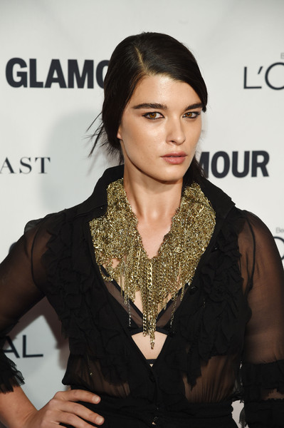 Crystal Renn Gold Statement Necklace [crystal renn,arrivals,2015 glamour women of the year awards,hair,hairstyle,beauty,lip,fashion,fashion model,dress,black hair,neck,fashion accessory,glamour women of the year awards,new york city,carnegie hall]