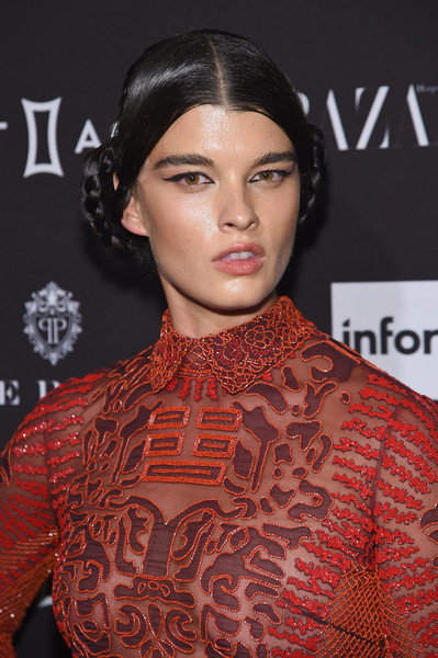Crystal Renn Braided Bun [hair,face,lip,eyebrow,hairstyle,fashion,beauty,skin,neck,black hair,new york city,the plaza hotel,harpers bazaar icons event,crystal renn]