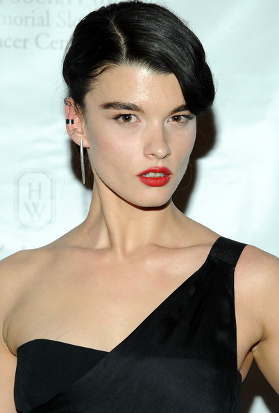 Crystal Renn Retro Updo [hair,lip,face,hairstyle,eyebrow,shoulder,chin,beauty,skin,fashion model,crystal renn,new york city,metropolitan museum of art,memorial sloan-kettering cancer center 6th annual spring ball]