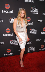 LeAnn Rimes added an extra dose of shimmer with a pair of silver evening sandals.