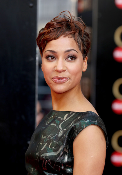 Cush Jumbo Pixie [laurence olivier awards,cush jumbo,hair,face,hairstyle,eyebrow,lip,beauty,chin,premiere,forehead,fashion,the royal opera house,london,england,red carpet arrivals]