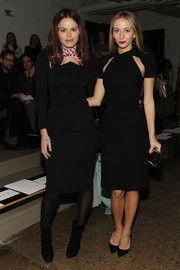 Harley Viera-Newton attended the Cushnie et Ochs fashion show wearing a very stylish black cutout dress from the brand.