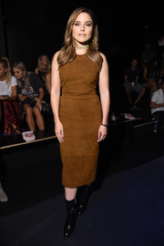 Sophia Bush was edgy in a brown suede sheath dress at the Cushnie et Ochs fashion show.