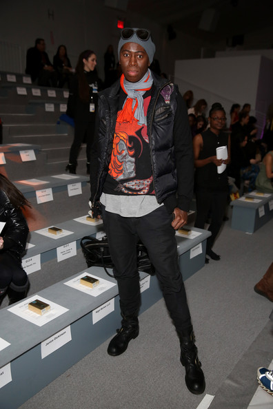 J. Alexander kept warm and stylish with a large puffa vest at the Custo Barcelona runway show.